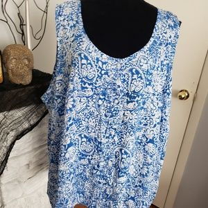 Faded Glory blue and white sleeveless top. Size 5X